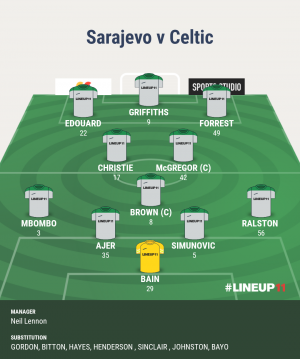 Based on pre season performances/form etc coupled with the fact Ntcham, Rogic and Jullien may be unavailable I'd go with this 11, even away from home. Mbombo must go straight in as Hayes is dreadful.